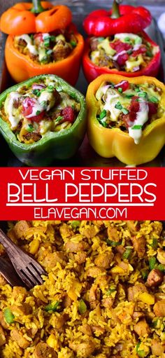 bell pepper recipes These vegan stuffed bell peppers are filled with healthy ingredients and are rich in protein. The recipe is gluten-free, plant-based, easy to make, and very tast Stuffed Bell Peppers Easy, Vegetarian Stuffed Peppers, Veggie Recipes, Vegetarian Recipes, Cooking Recipes, Healthy Recipes, Vegan Soul Food Recipes, Easy Plant Based Recipes, Vegan Foods