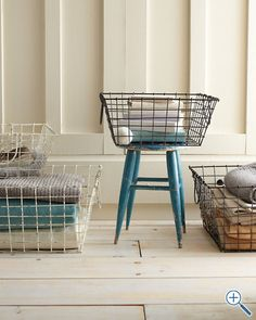 Square Wire Storage Baskets - Garnet Hill/love these but the price is a bit steep. Now I can look around!