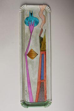 FLOR Y CASA NARANJA. TÉCNICA MIXTA SOBRE CARTÓN. 44,5X13,5 CMS. DISPONIBLE. FLOWER, ART, HOUSE, PAINTING