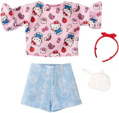 dfb706fe64 Amazon.com  Barbie Hello Kitty Pink Top and Blue Shorts Fashion Pack  Toys