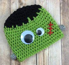 Halloween Baby Hat, Frankenstein Hat, Baby Boy Hat, Crochet Baby Beanie, Frankenstein Costume, Crochet Baby Hat, Baby Halloween Costume
