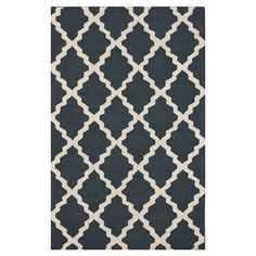 Wool rug with a lattice motif in Charcoal