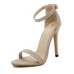 DijiGirls wedding bridal women sandals stilettos pumps high heels ankle strap glitter sequined wedge sexy sandals. Click visit to buy #womensandal #sandal