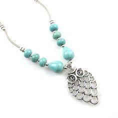 Women's Jewelry Owl Shape Hollow Tibetan Silver Necklace Charm Turquoise Pendant