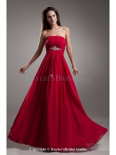 Chiffon Strapless Floor Length Column Crystals Prom Dress