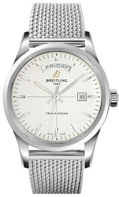Breitling Transocean Day Date Men Auto Silver Dial Steel Watch A4531012/G751 Free Overnight Shipping