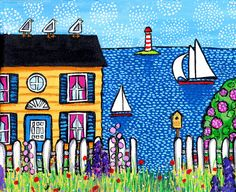 ORIGINAL Nova Scotia seaside cottage with seagulls and fence and flowers.looks like a Maud Lewis painting Maud Lewis, Tuscany Landscape, House By The Sea, Canadian Art, Naive Art, Whimsical Art, Painting For Kids, Painting Inspiration, Home Art