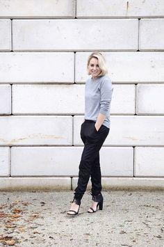 Lian of Fashion Hoax wearing: Iris & Ink Jumper, Modström Trousers, Missguided Shoes