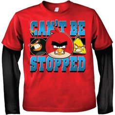 Rovio Angry Birds Can't Be Stopped Boys' 2fer Two-Tone Long Sleeve Graphic Tee T-Shirt, Size: Small, Black