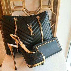 Black and Gold YSL clutch and pumps... very stylish and sexy! Love this