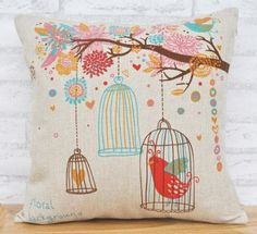 Cotton Linen Bird Cage Lumbar Cushion Cover Pillowcase 18-by-18-inches