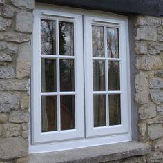 Cottage with Georgian windows. Grey Windows, Dormer Windows, Casement Windows, Windows And Doors, Upvc French Doors, French Windows, Cottage Windows, Farmhouse Windows, Window Design
