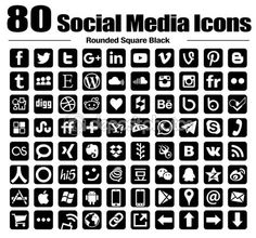 80 new rounded square social media icons - new G+ - Vector, Back and white, transparent background – Stock icons via Depositphotos #82779962