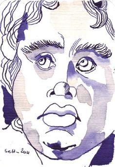 Drawing Ink Art Engelskopf (c) Zeichnung von Susanne Haun