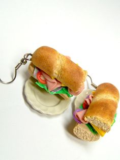 Miniature Food Earrings Food Jewelry Sub Sandwich by kawaiibuddies, $22.00
