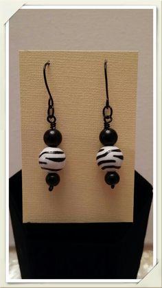 Handcrafted Wired Earrings #jewelry# Zebra