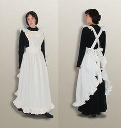 Steffi l.  Viktorianische Schürze -  schneeweiß - Zofe LARP Dienstmädchen Nostalgie Magd