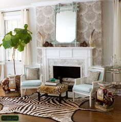 ummm- yes please fo rthis focal fire place wall- LOVE the paper+herringnbone marble subway tiles