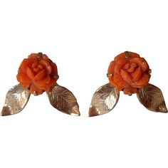 Vintage Coro Earrings Plastic Faux Carved Coral Roses