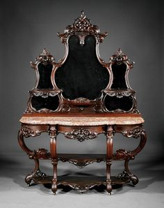 American Rococo Carved Rosewood Etagere : Lot 376