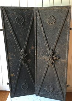 1800s antique European wrought iron shutters by histoireancienne