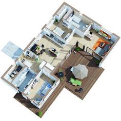 gscheit nachhaltig. BEST AGER von Genböck Haus vereint nachhaltiges Bauen mit Barrierefreiheit, modernem Design und höchstem Wohnkomfort auf einer Ebene. Grundriss EG / Original Bungalows, Parks, Apartment Layout, Smart Home, Planer, My House, House Plans, Floor Plans, House Design