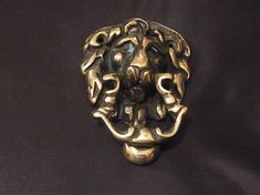 Antique Victorian era English Door Knocker Lions Face mid to