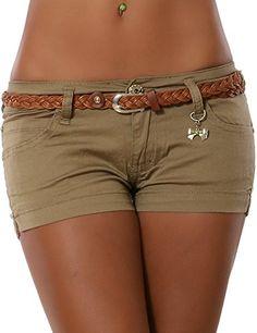 Damen Hotpants inkl. Gürtel (weitere Farben) No 13315, Größe:M 38;Farbe:Beige