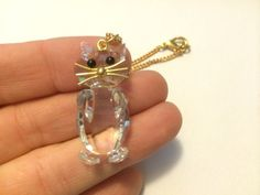 Vintage Cat Pendant Necklace Faceted Glass Made by NeutralNellies