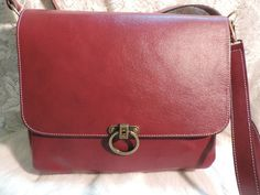 Red Leather Large bag by RoundOakLeather on Etsy, $90.00
