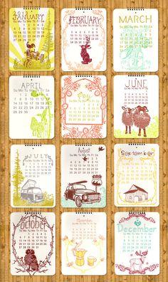 2013 Letterpress Wall Calendar via Etsy.