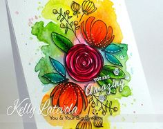 Cardmaking: Flower Arrangement with Loose Watercolored Background using Distress Inks and Copic Coloured over the top