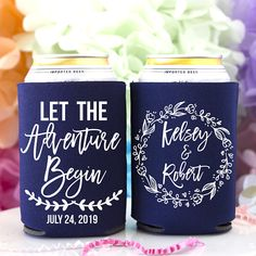 Rustic Wedding Favor The Adventure Begins Personalized Can Cooler Custom Beer Can Holder Mountain Wedding Beer Hugger Rehearsal Dinner Beer Wedding, Wedding Koozies, Rustic Wedding Favors, Wedding Invitations, Wedding Rings, Can Holders, And So The Adventure Begins, Time To Celebrate, Dose