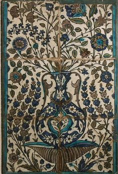 Tile Panel Object Name: Tile panel Date: 16th–17th century Geography: Syria Culture: Islamic Medium: Stonepaste; underg...