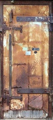 "'Metal Rusty Door' Wrap (Faux/Trompe l'oeil Door ""sticker"" to wrap around an interior door) ~ Wrap is taken from a photo of a door at the Mill City Museum. 