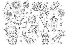 Space Objects in Hand drawn by TopVectors on @creativemarket
