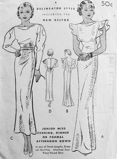 1930s STUNNING ART DECO SLINKY EVENING GOWN PATTERN DRAPED NECKLINE, LOW BACK , FLUTTER SLEEVES VERSION 2 GORGEOUS DESIGNS BUTTERICK 5533