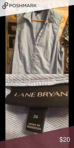 Lane Bryant sleeveless shirt 👚JUST REDUCED 🎉🎉 This is really nice 👍 just needs a good 😊 ironing. It was worn maybe 2 times. Size 26 👚 shirt 👚. Check out my Poshmark closet it is full of PLUS SIZE CLOTHES 👗👚👖👢👟👠👛 $10 qualifying item Lane Bryant Tops Button Down Shirts