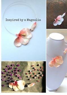 I see flowering trees and magnolias everywhere. And I could not resist their charm. At first I wanted to make a necklace inspired by flowering trees, then I have changed my mind and decided to go f…