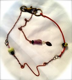 """""""V"""" is for Vickie. Red suede and copper beaded personalized necklace."""