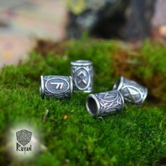 Viking Runes beads. Beads for Beards or Hair. Viking Rune TIWAZ TYR Sol