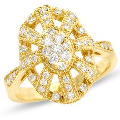 1/2 CT. T.W. Endless Diamond Deco Dome Ring
