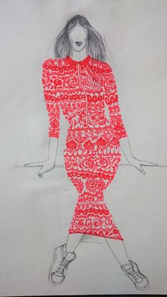 Rotes Spitzenkleid Sketches, Drawing S, Red