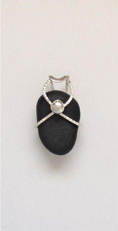 Sea Glass Jewelry  Sterling Caged Rare Black English Sea