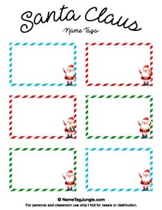 Free printable christmas name tags the template can also be used printable santa claus name tags negle Image collections