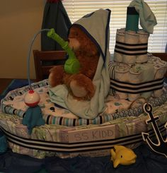 Fishing boat diaper cake by Amy Creasy
