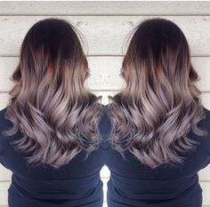 Dark brown to grey ombre