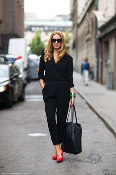 A black jumpsuit needs only red heels to add a pop of colour #SuccessfullyStyled