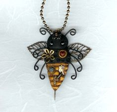 Steampunk Bee Necklace Polymer Clay Jewelry