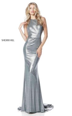High Neck Gunmetal/Silver Sparkling Cutout Back Sherri Hill 51428 Long Fitted Evening Dresses Outlet Fitted Prom Dresses, Sherri Hill Prom Dresses, Prom Dresses 2018, Satin Dresses, Formal Dresses, Selena, Plus Size Gowns, Halter Gown, Metallic Dress
